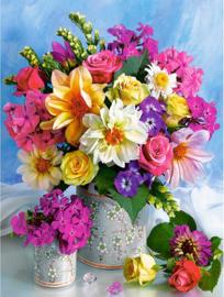 bloemen in een vaas 40x50 cm (vierkante steentjes)