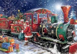 Kerstman komt aan met stoomtrein