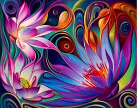 vrolijke gekleurde bloemen 50x40 cm (vierkante steentjes)