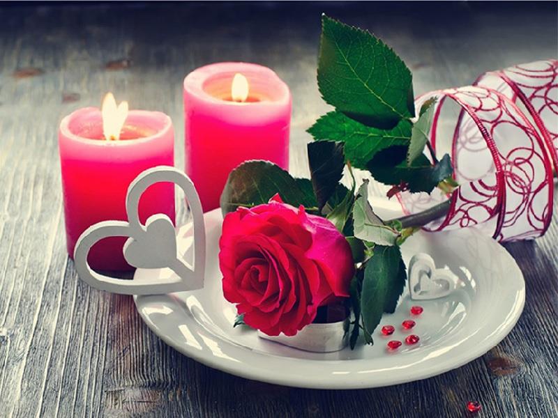 roos met kaarsjes 60X45 CM