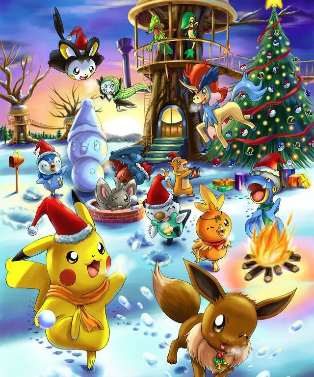 Pokemons vieren kerst (40x50 CM)