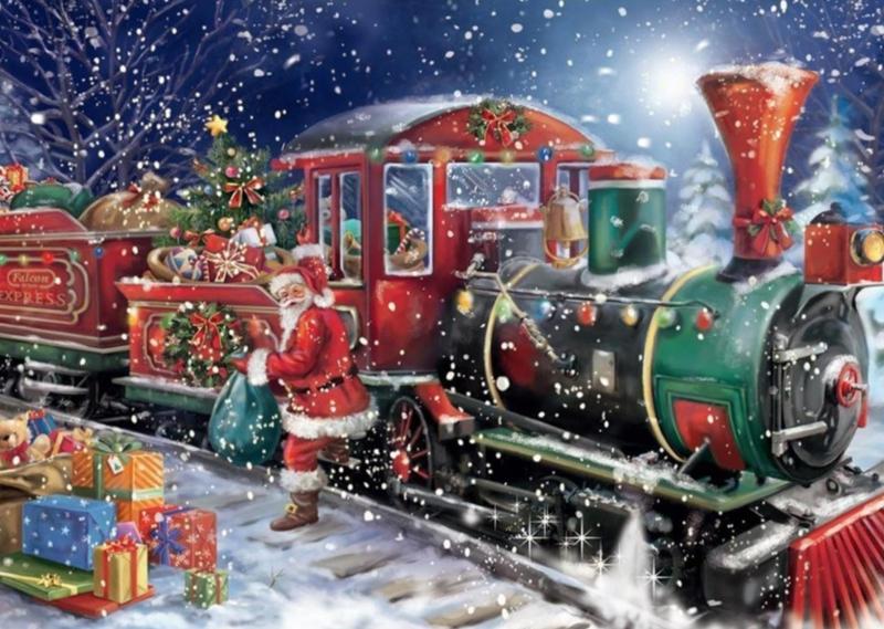 Kerstman komt aan met stoomtrein (40x50 CM)