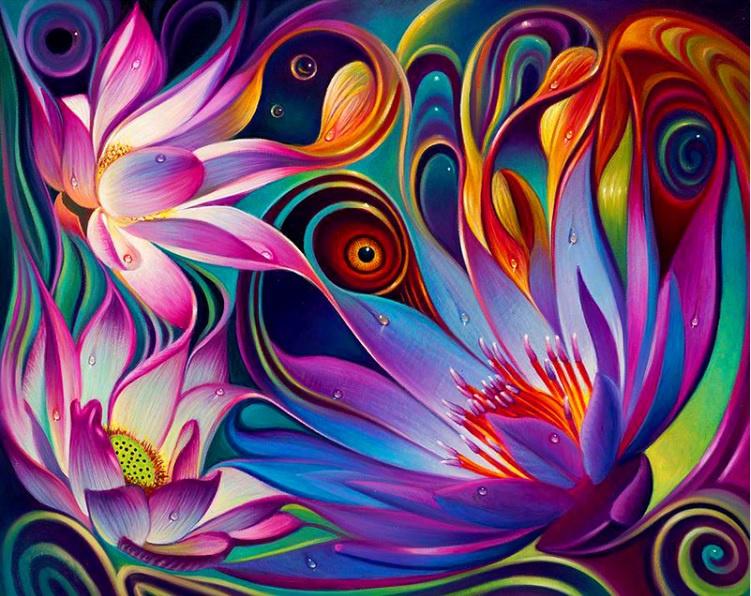 vrolijke gekleurde bloemen 50x40 cm