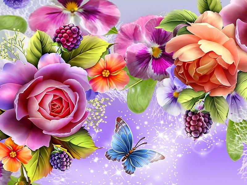 bloemen met vlinder 50X40 cm (vierkante steentjes)