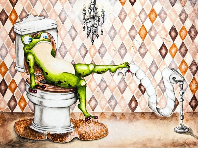 kikker op toilet (40x50 CM)