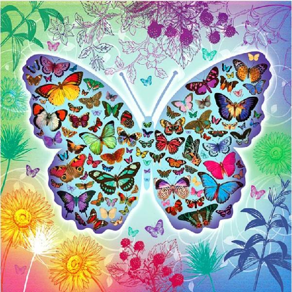 vlinders in vlinder 60X60 cm