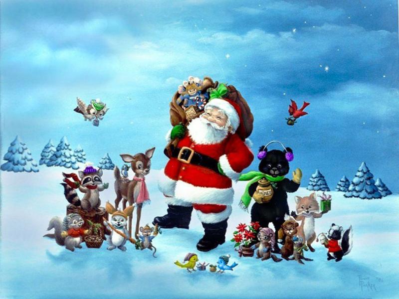 Kerstman en vrienden (40x50 CM)