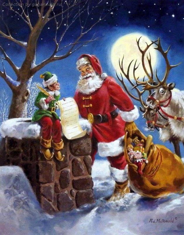 Kerstman bij de schoorsteen (40x50 CM)