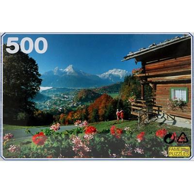 Puzzel Berglandschap met berghut 500 stukjes
