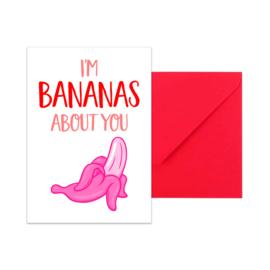 Wenskaart - I'm bananas about you, per 5 stuks