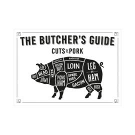 XL Poster - The butcher's guide cuts of pork. Per 3 stuks