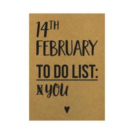 Valentijnskaart - 14th february to do list you, per 5 stuks