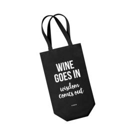 Wijntas zwart - Wine goes in Wisdom comes out. Per 5 stuks