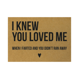 Valentijnskaart - I knew you loved me when I farted and you didn't ran away, per 5 stuks