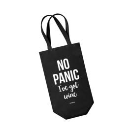 Wijntas zwart - No panic I've got wine. Per 5 stuks