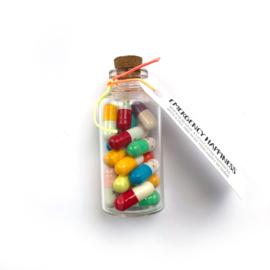 Happy message pills in een flesje. Per 3 stuks