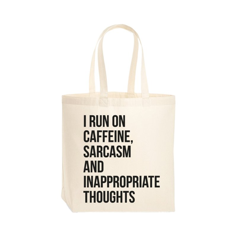 Tas - I run on caffeine, sarcasm and inappropriate thoughts. Per 3 stuks