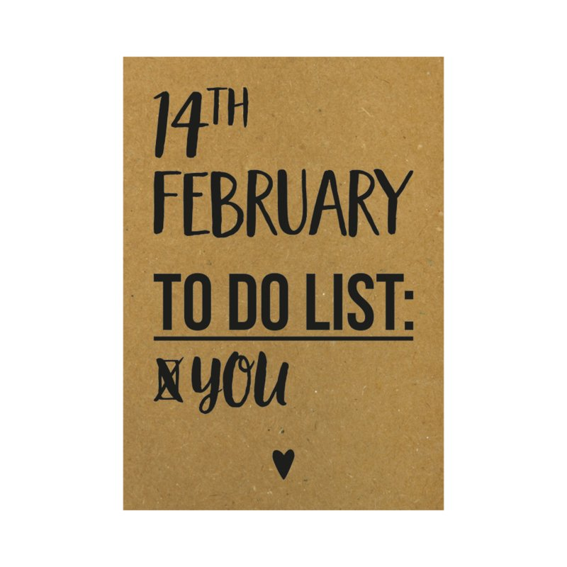 Valentijnskaart - 14th february to do list you, per 5 stuks