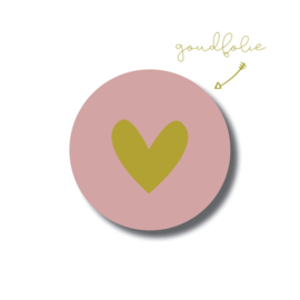 Roze hartje -goudfolie / 5 stuks