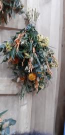 Droogbloemen boeket oranje geel