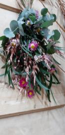Roze toef droogbloemen 45 cm