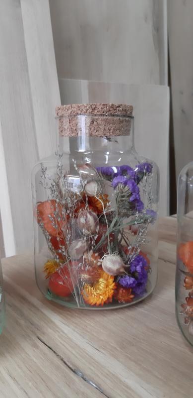 Glas met kurk  oranje paars