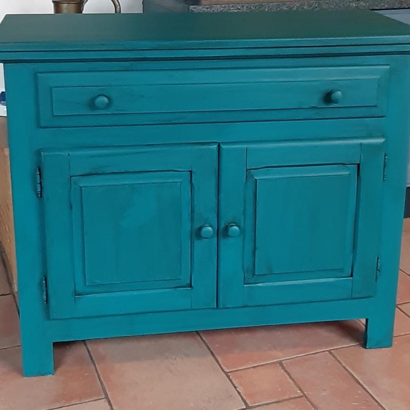 Vintage turquoise dressoir kast