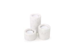 XLBOOM | LUZ MARBLE T-LIGHT | SET OF 3 | WHITE
