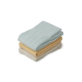 LIEWOOD | LINE | MUSLIN CLOTH | 3 PACK | SEA BLUE STRIPE MIX