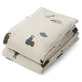 Liewood | Lewis Muslin Cloth | 2 Pack | Friendship Sandy Mix