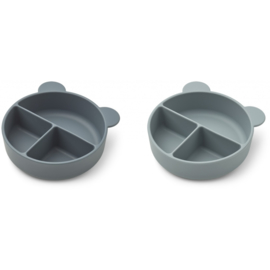 Liewood | Connie | Divider Bowl | 2 Pack | Whale Blue Mix