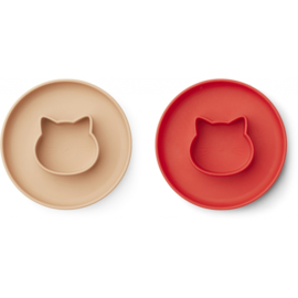Liewood | Gordon Plate | 2 Pack | Cat Apple Red / Tuscany Rose Mix