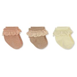 Konges Slojd | 3 Pack | Lace Lurex Socks | Pink Bloom