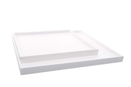 XLBOOM | LOW TRAY | SQUARE | WHITE | SET OF 2