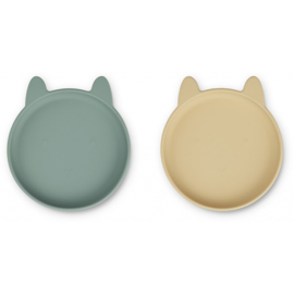 Liewood | Olivia Plate | 2 Pack | Rabbit Peppermint | Wheat Yellow Mix