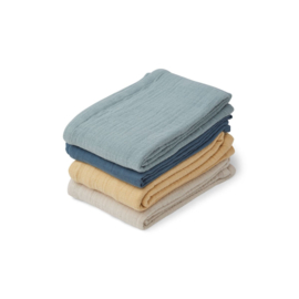 LIEWOOD | LEON MUSLIN CLOTH | 4 PACK | BLUE MIX