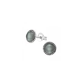 Earrings  Grey Chalcedony Cat Eye