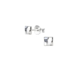 Earrings Square Howlite