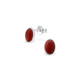 Earrings Red Onyx Oval