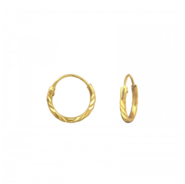 Earrings Stamped Gold 10mm