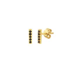 Earrings Black Zirkonia Gold