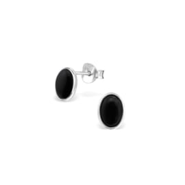 Earrings Black Onyx Oval