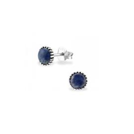 Earrings Genuine Sodalite Round