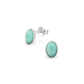 Earrings Genuine Amazonite Oval