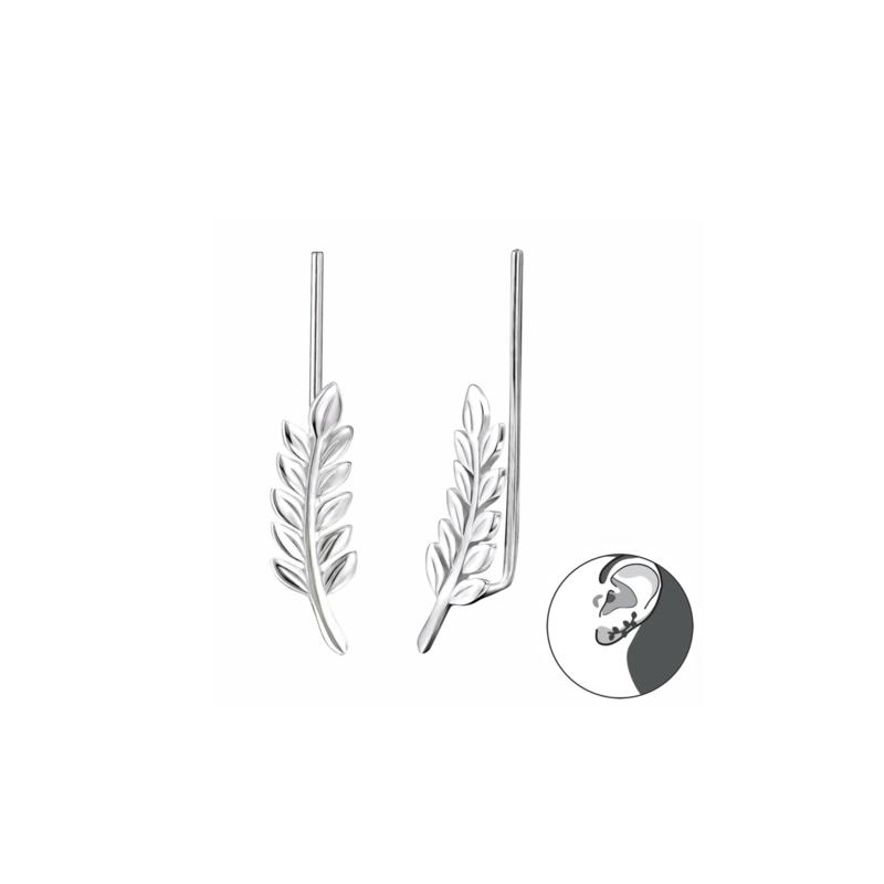 Ear Climber Leaf Silver