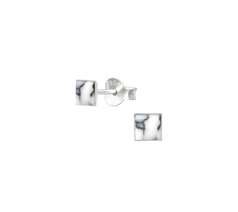 Earrings Square Howlite