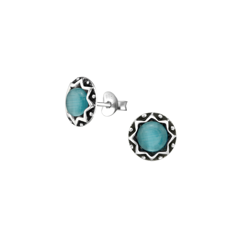 Earrings Blue Chalcedony Cat Eye