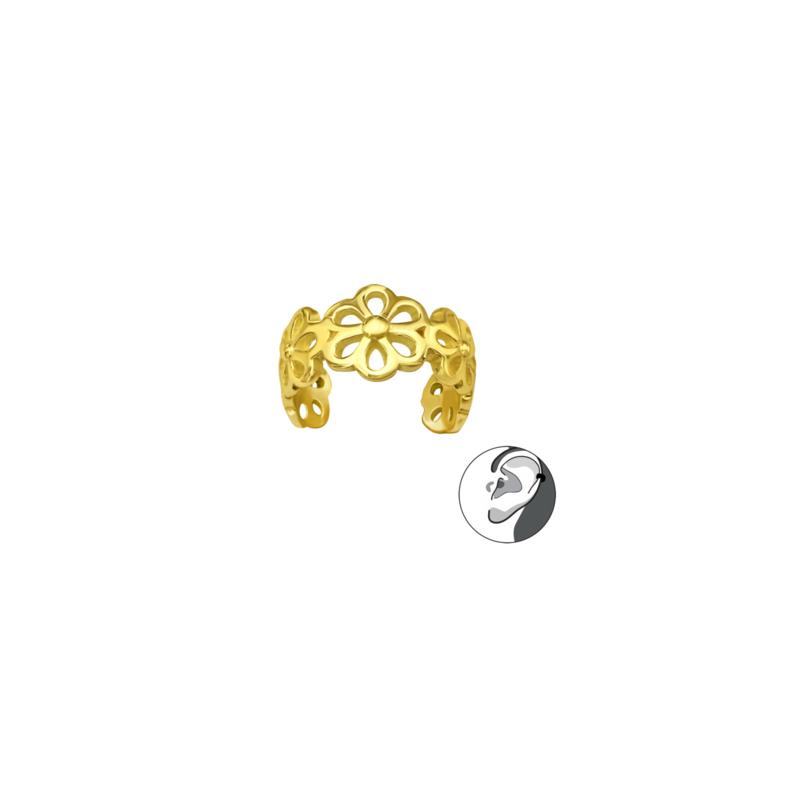 Ear Cuff Flowers Gold