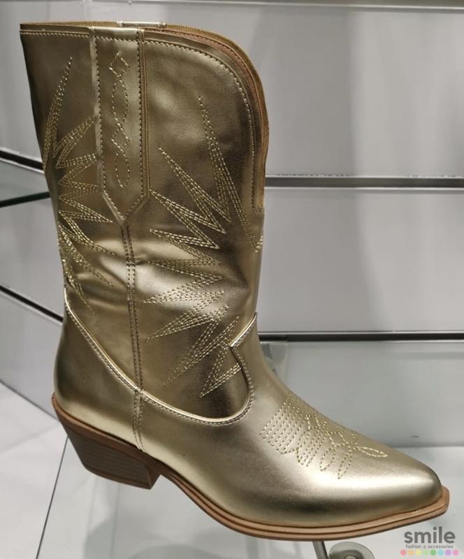 Musthave Dames Cowboy boots Zwart Goud Western Laarzen