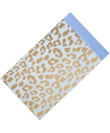 Cheetah - blauw/goud | cadeauzakje - 12 x 19 cm